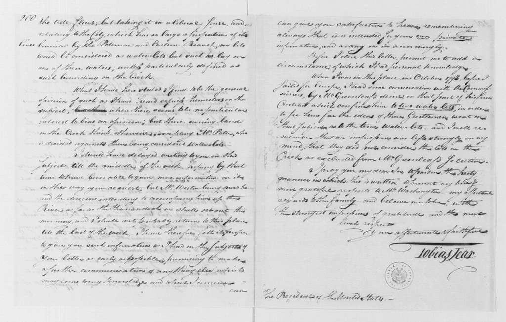 George Washington Papers, Series 4, General Correspondence: Tobias Lear to George Washington, March 8, 1795