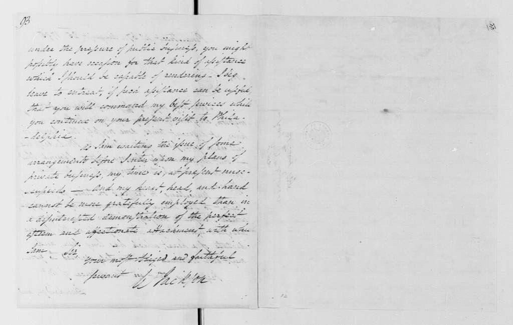 George Washington Papers, Series 4, General Correspondence: William Jackson to George Washington, August 25, 1795