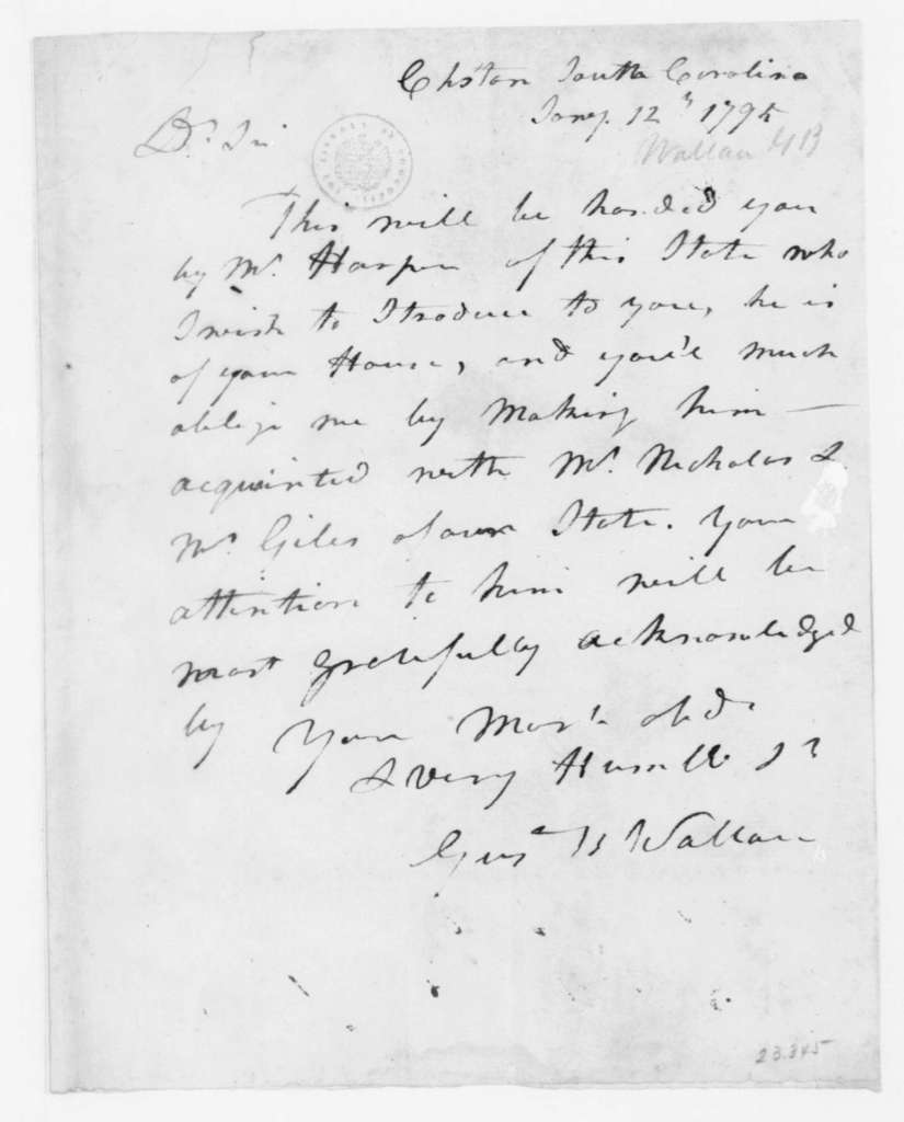 Gustavus B. Wallace to James Madison, January 12, 1795.