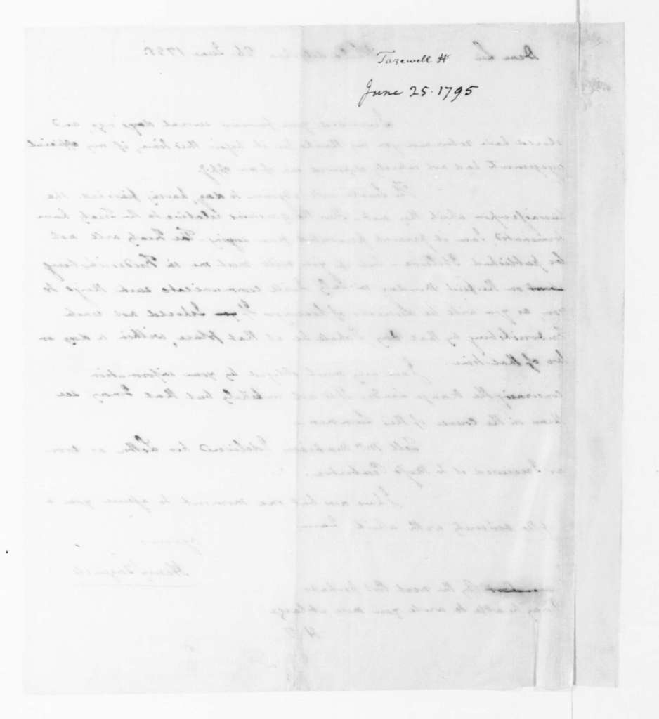 Henry Tazewell to James Madison, June 26, 1795.