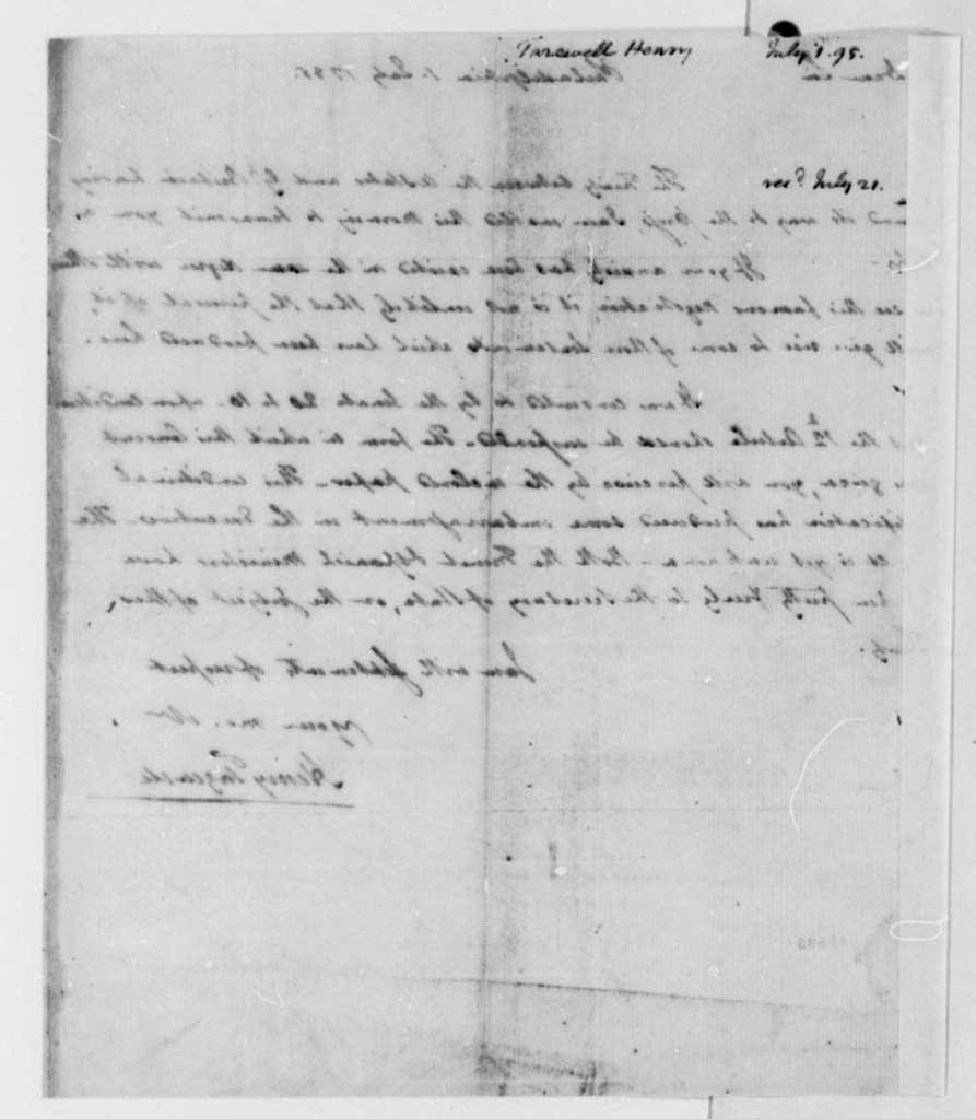 Henry Tazewell to Thomas Jefferson, July 1, 1795