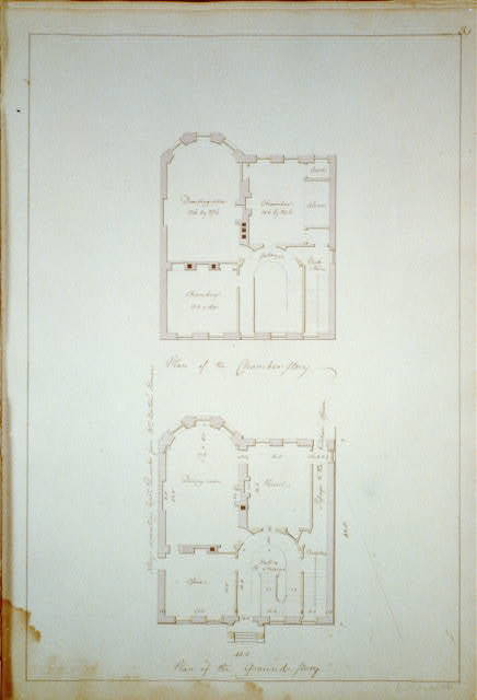 """[Houses and a church (""""Buildings Erected or Proposed to be Built in Virginia""""). Plan of the chamber and ground stories]"""