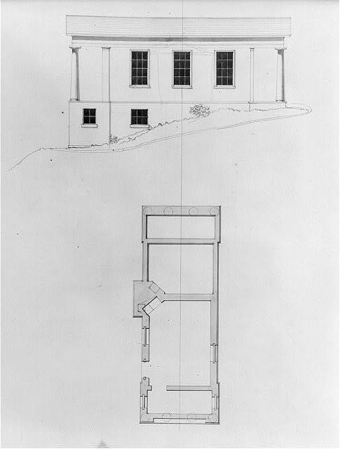 """[Houses and a church (""""Buildings Erected or Proposed to be Built in Virginia""""). Side elevation and basement floor plan]"""