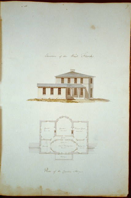"[Houses and a church (""Buildings Erected or Proposed to be Built in Virginia""). West flank elevation, chamber story floor plan]"
