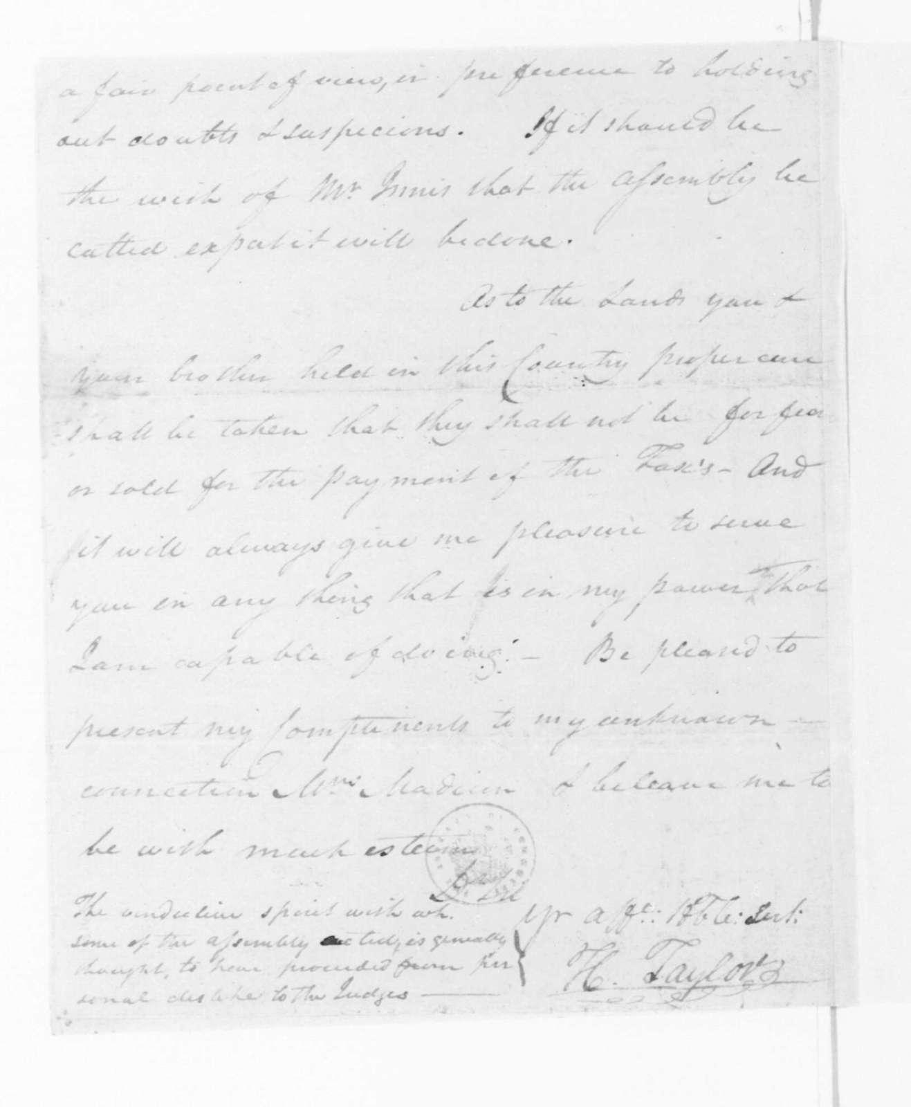 Hubbard Taylor to James Madison, February 3, 1795.