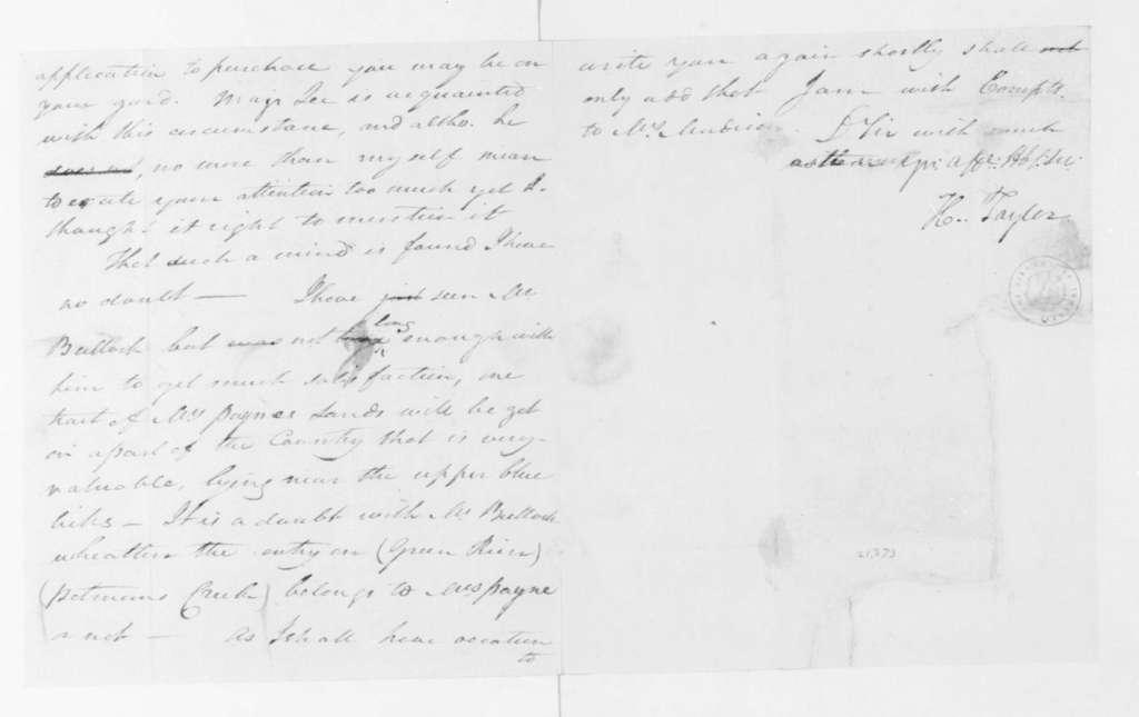 Hubbard Taylor to James Madison, January 16, 1795.