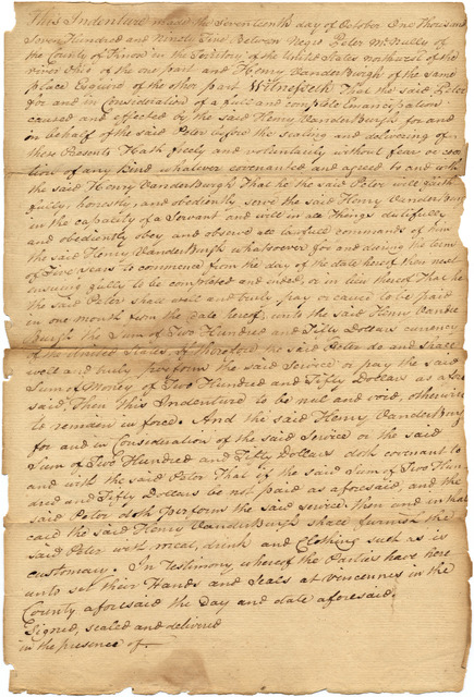 Indenture made by Henry Vanderburgh for Peter McNelly, Knox County, Territory of the United States Northwest of the Ohio