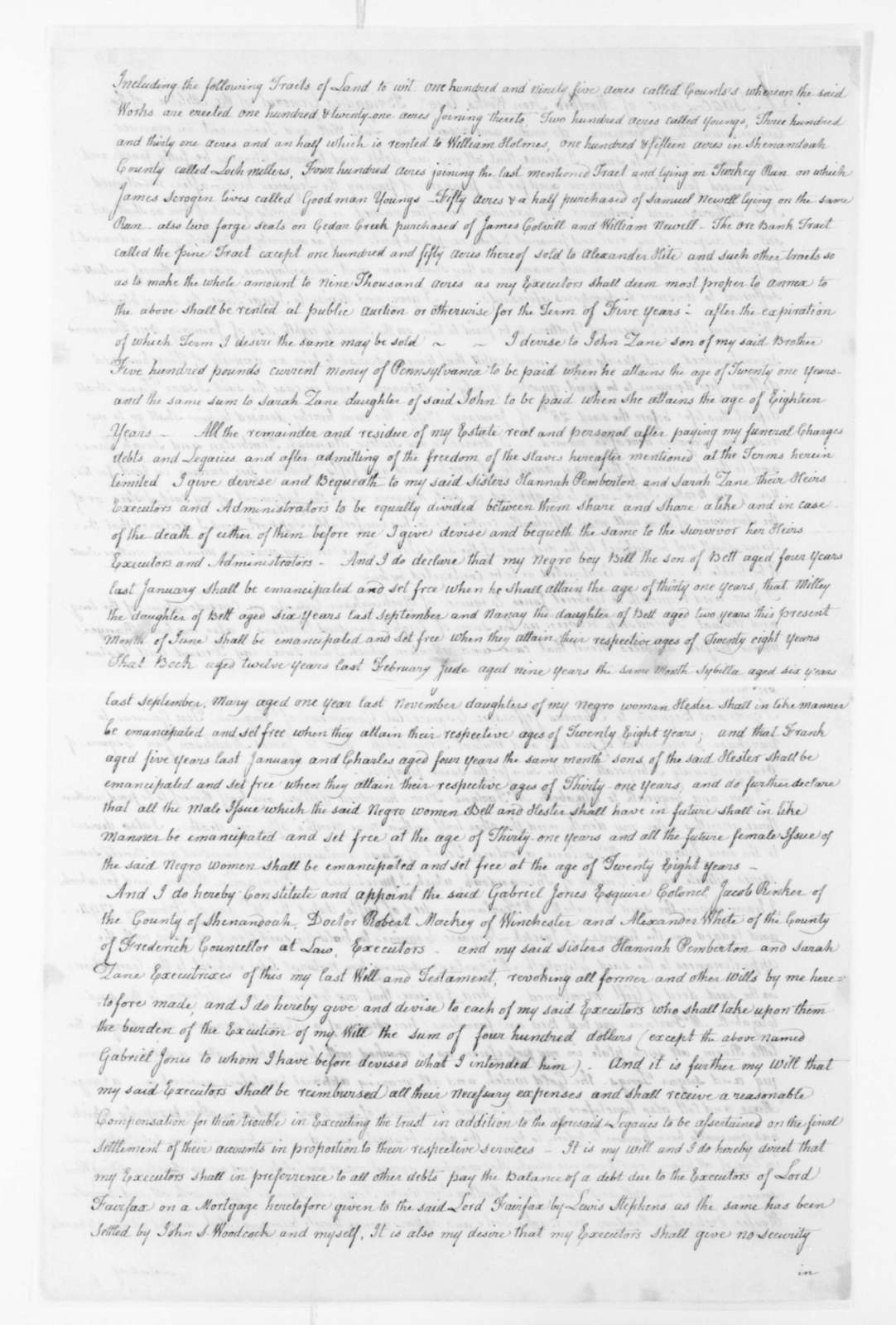 Isaac Zane, June 17, 1795. Will of Brig. Gen. Isaac Zane of the militia of the Commonwealth of Virginia.