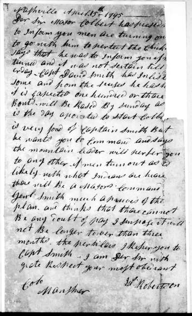 J. Robertson to [Col.] Maugher, April 15, 1795
