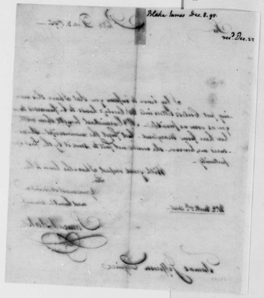 James Blake to Thomas Jefferson, December 8, 1795