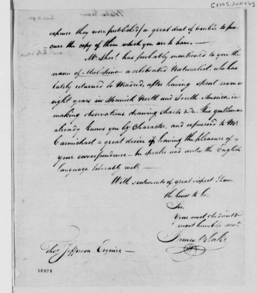 James Blake to Thomas Jefferson, January 6, 1795