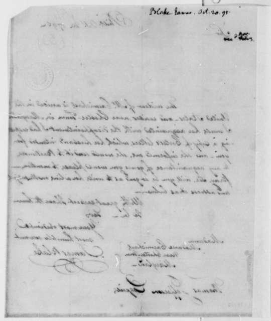 James Blake to Thomas Jefferson, October 20, 1795