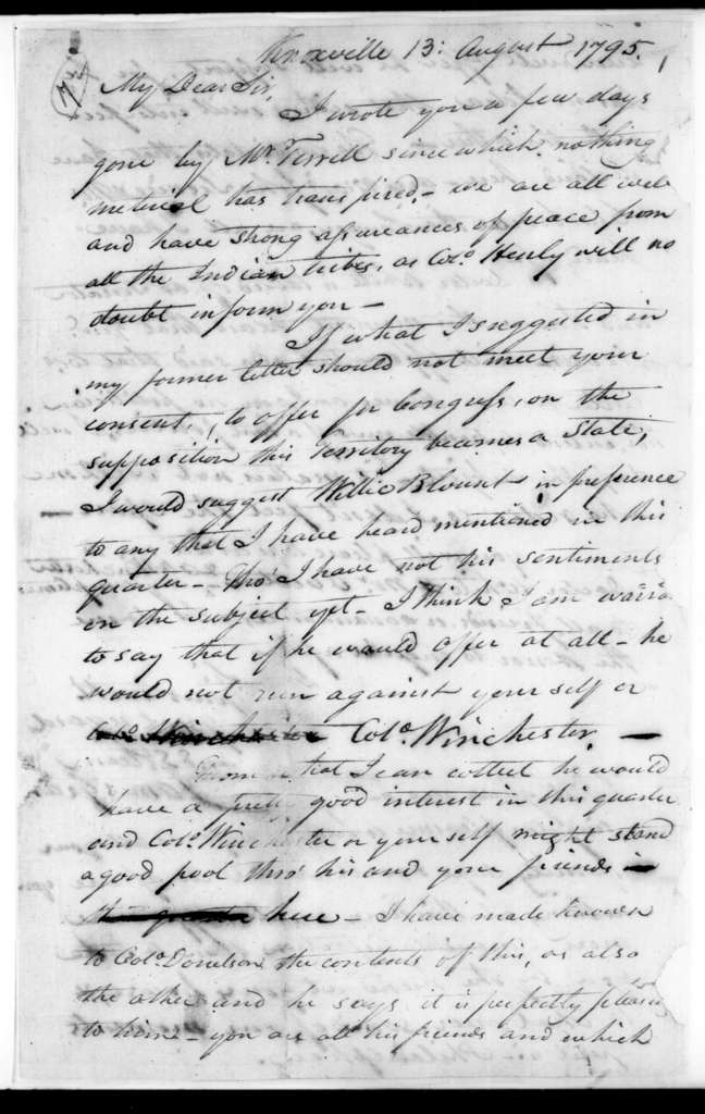 James Grant to Andrew Jackson, August 13, 1795