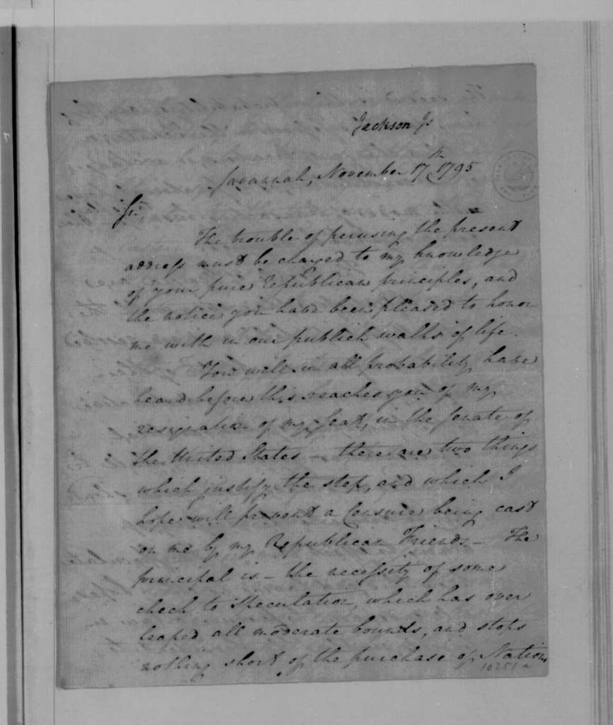 James Jackson to James Madison, November 17, 1795.