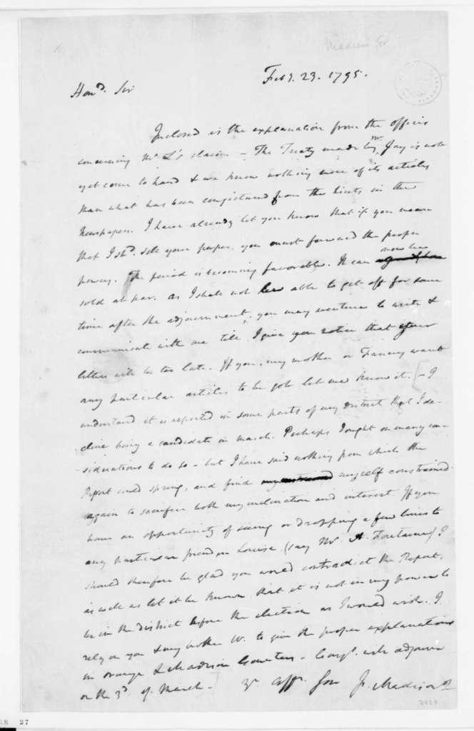 James Madison to James Madison Sr., February 23, 1795.