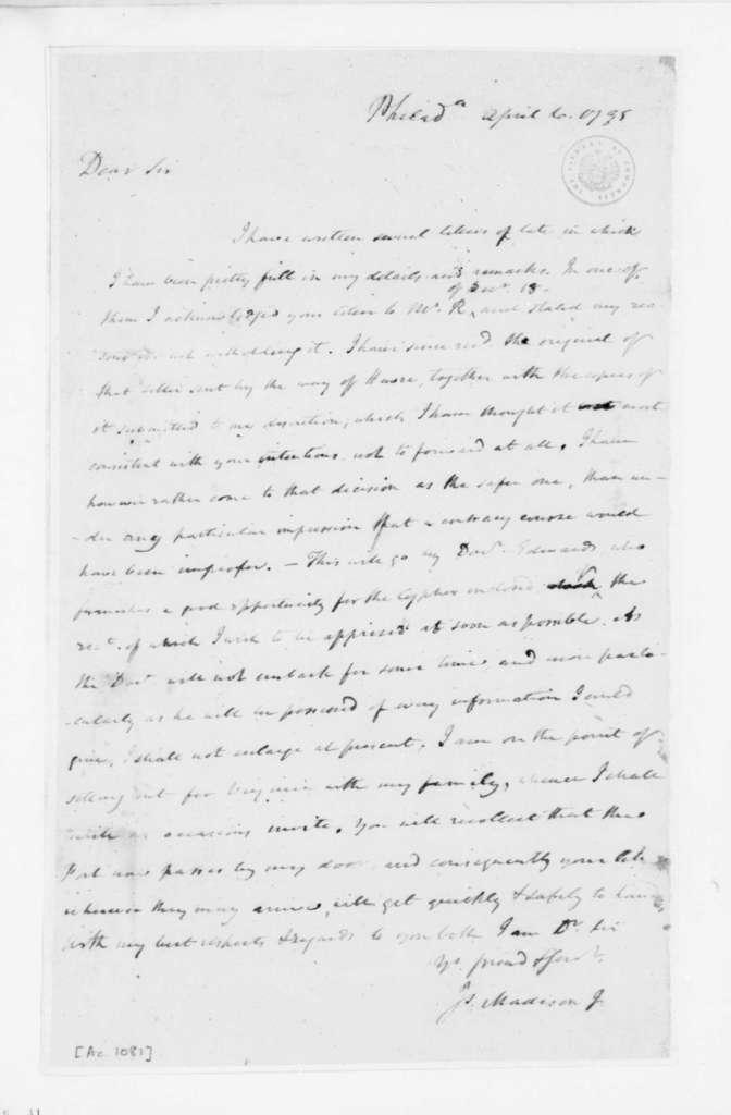 James Madison to James Monroe, April 06, 1795.