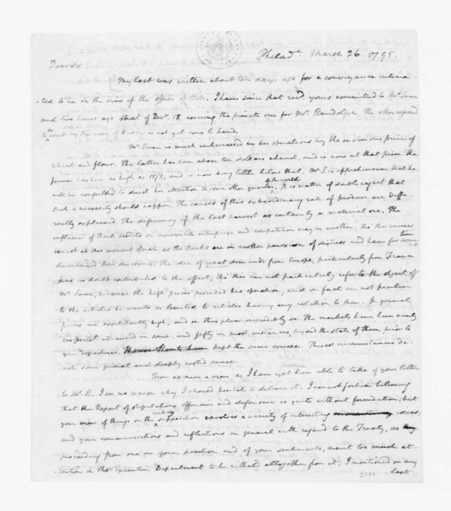 James Madison to James Monroe, March 26, 1795.