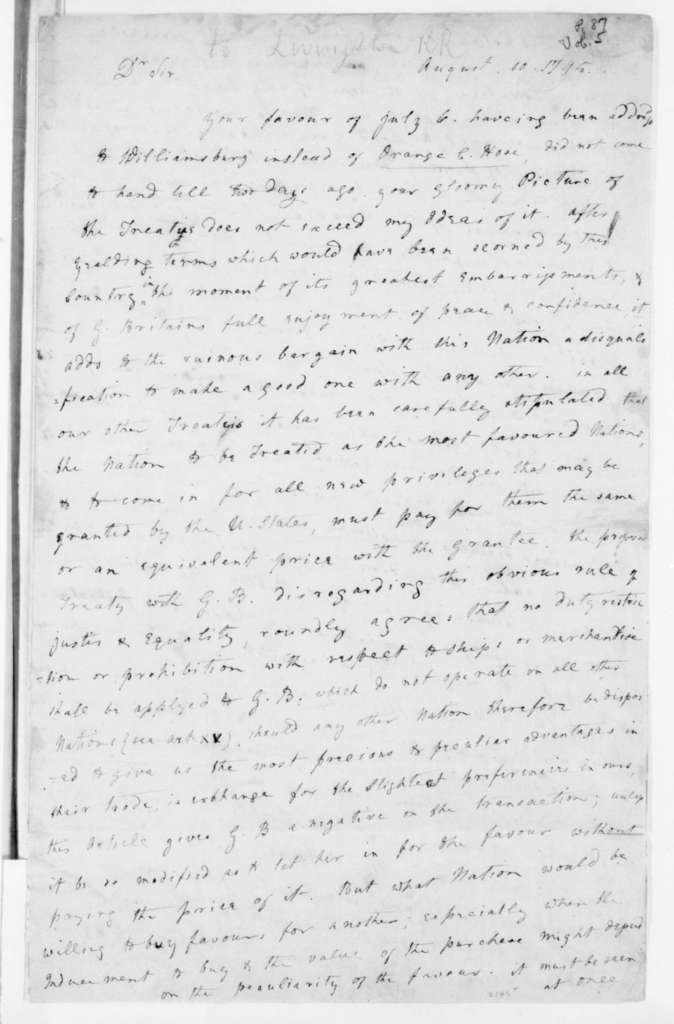 James Madison to Robert R. Livingston, August 10, 1795.