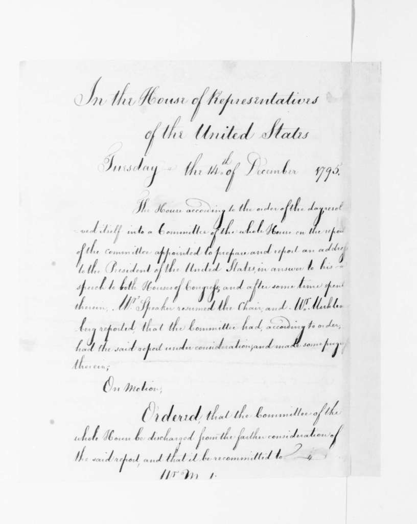 James Madison to Robert Simons, December, 1795. contains House of Representative Proceedings December 14, 1795.