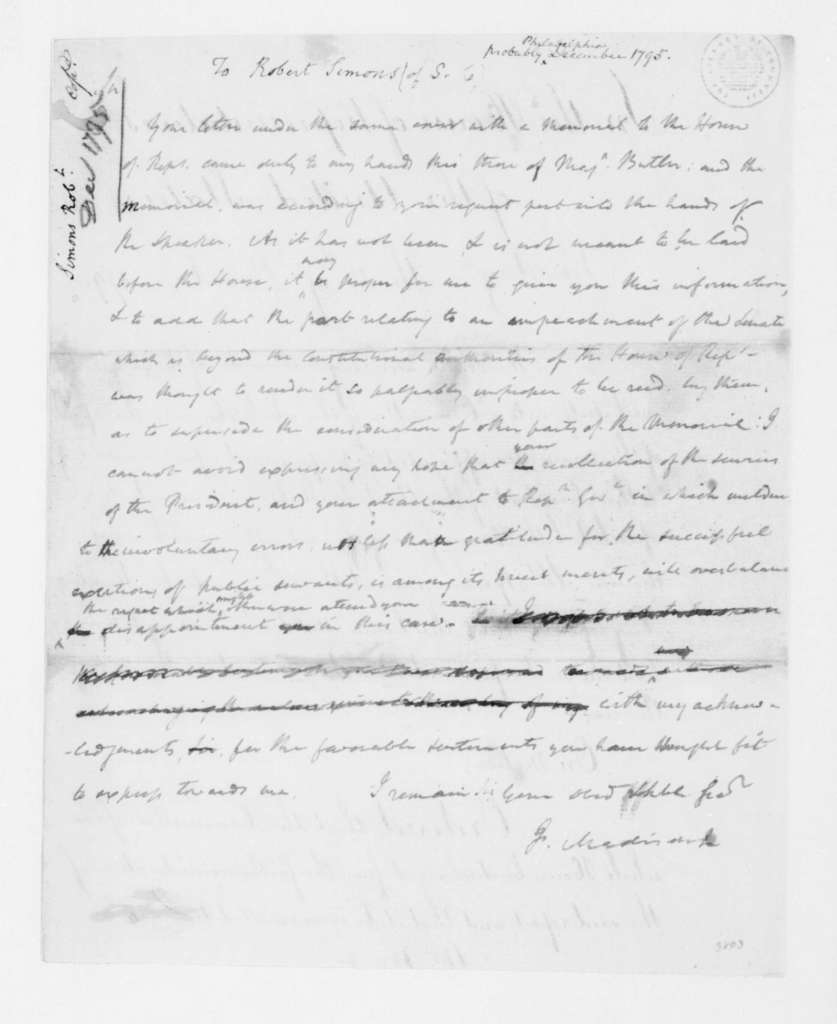 James Madison to Robert Simons, December, 1795. contains House of Representative Proceedings December 14, 1795.