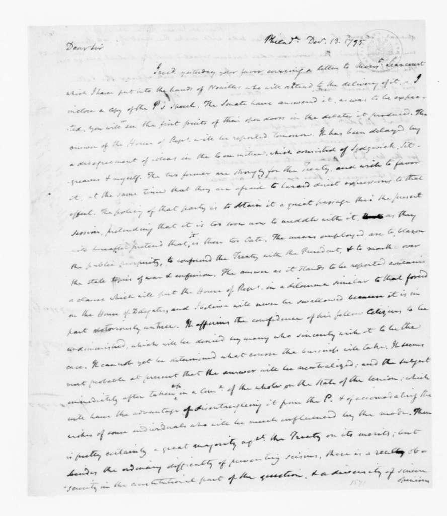 James Madison to Thomas Jefferson, December 13, 1795.