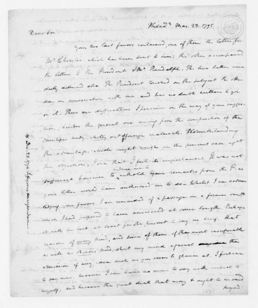 James Madison to Thomas Jefferson, March 23, 1795.