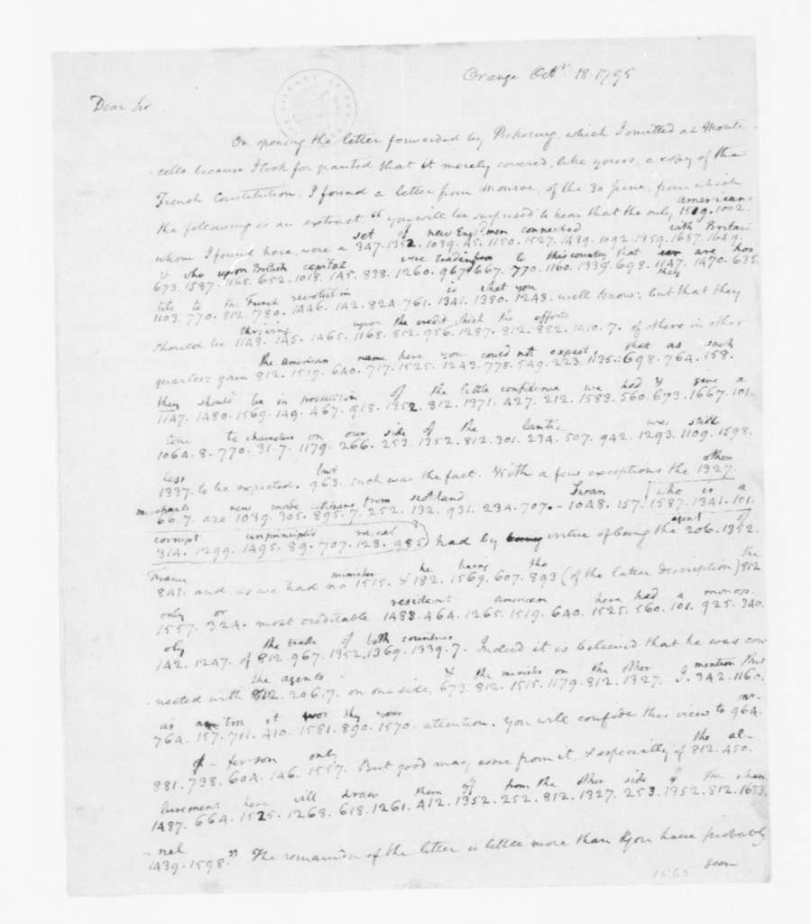 James Madison to Thomas Jefferson, October 18, 1795. Partly in cipher.