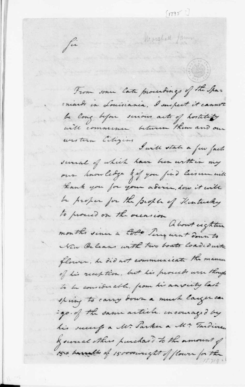 James Marshall to James Madison. 1795.