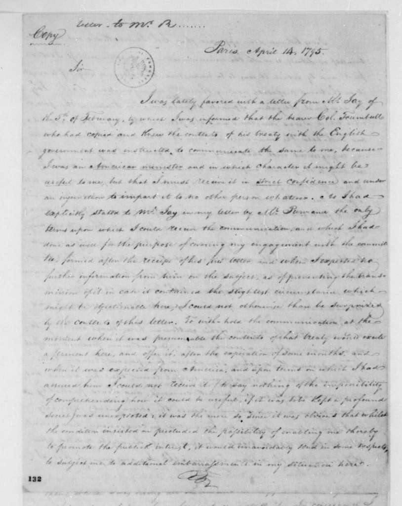James Monroe to Edmond Randolph, April 14, 1795.