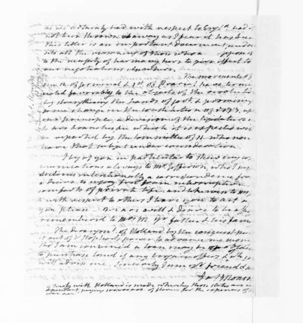 James Monroe to James Madison, June 13, 1795. contained clerk's copy of William Short's May 4, 1795 to James Monroe.