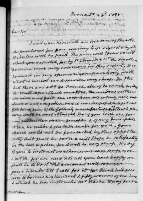 James Monroe to James Madison, October 23, 1795. With Invoice.