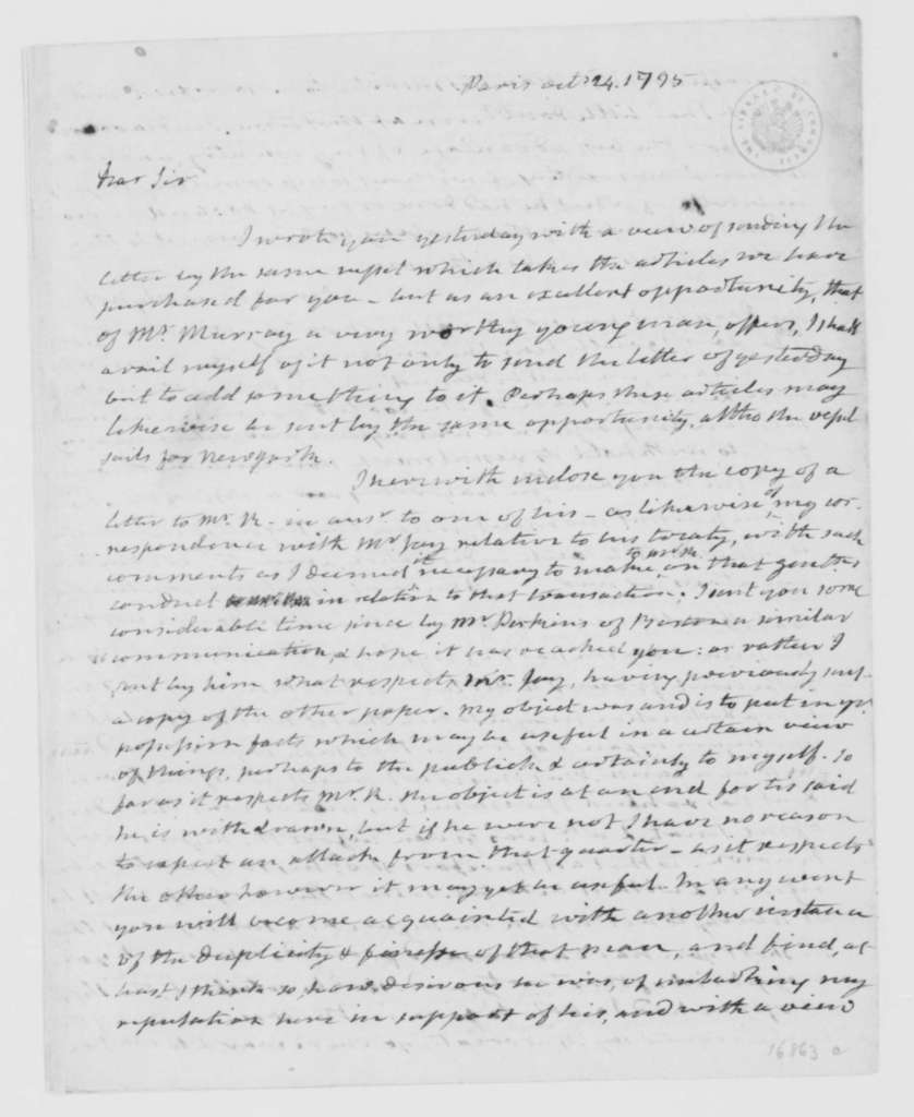 James Monroe to James Madison, October 24, 1795. Partly in cipher.