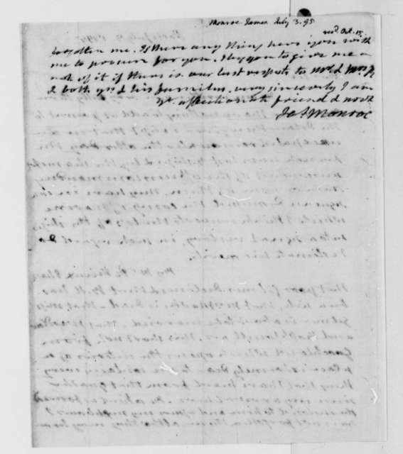 James Monroe to Thomas Jefferson, July 3, 1795