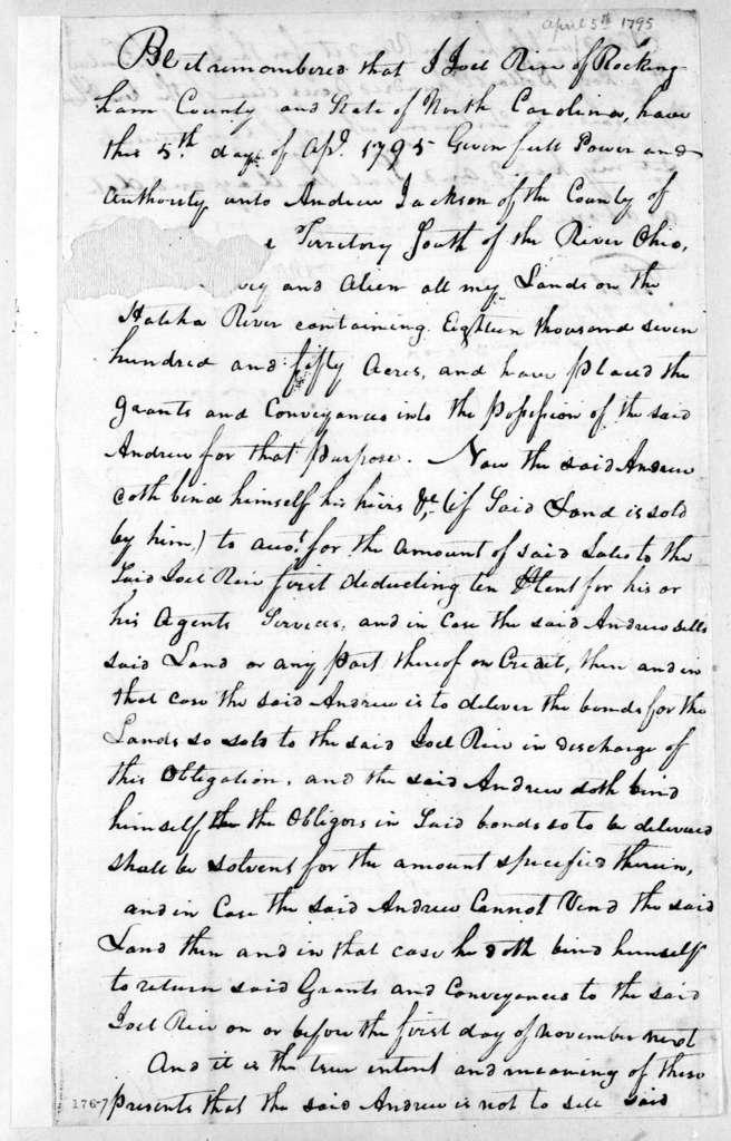 Joel Rice to Andrew Jackson, April 5, 1795