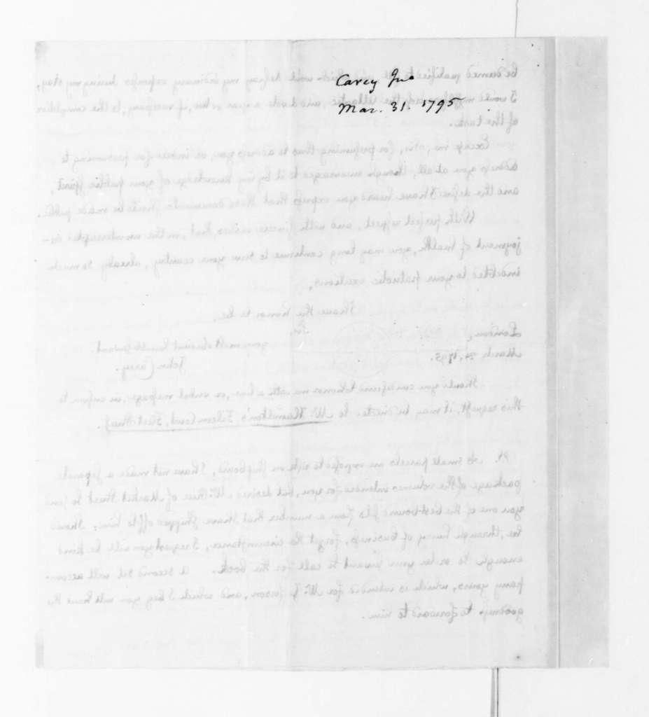 John Carey to James Madison, March 31, 1795.
