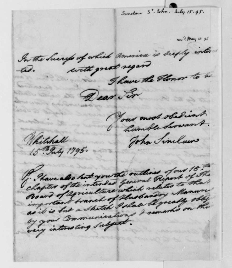 John Sinclair to Thomas Jefferson, July 15, 1795