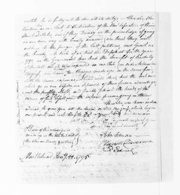 John Sitman and others to James Madison, January 22, 1795. signed by John Sitman, Burrill Devereux, Richard Pedrick.