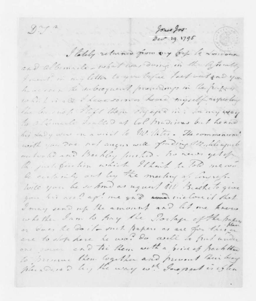 Joseph Jones to James Madison, December 19, 1795.