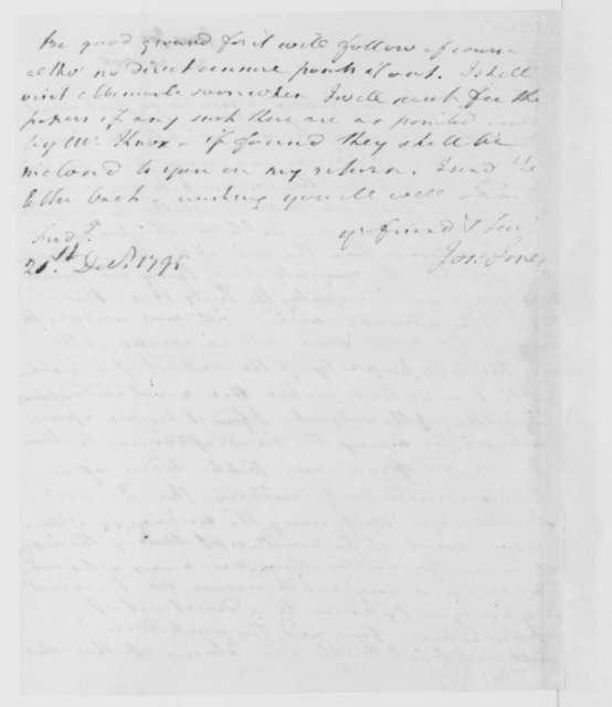 Joseph Jones to James Madison, December 21, 1795.