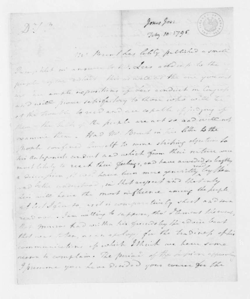 Joseph Jones to James Madison, February 10, 1795.