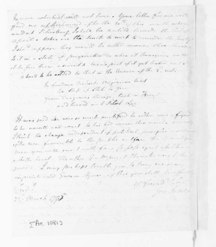 Joseph Jones to James Madison, March 22, 1795.