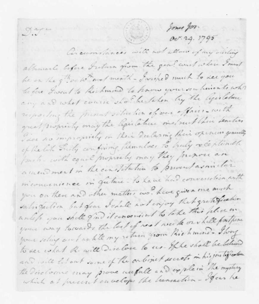 Joseph Jones to James Madison, October 29, 1795.