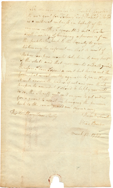 Letter from Elias Barbee to Isaac Shelby