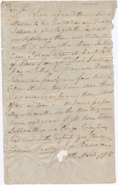 Letter from Joseph Ballinger to Isaac Shelby