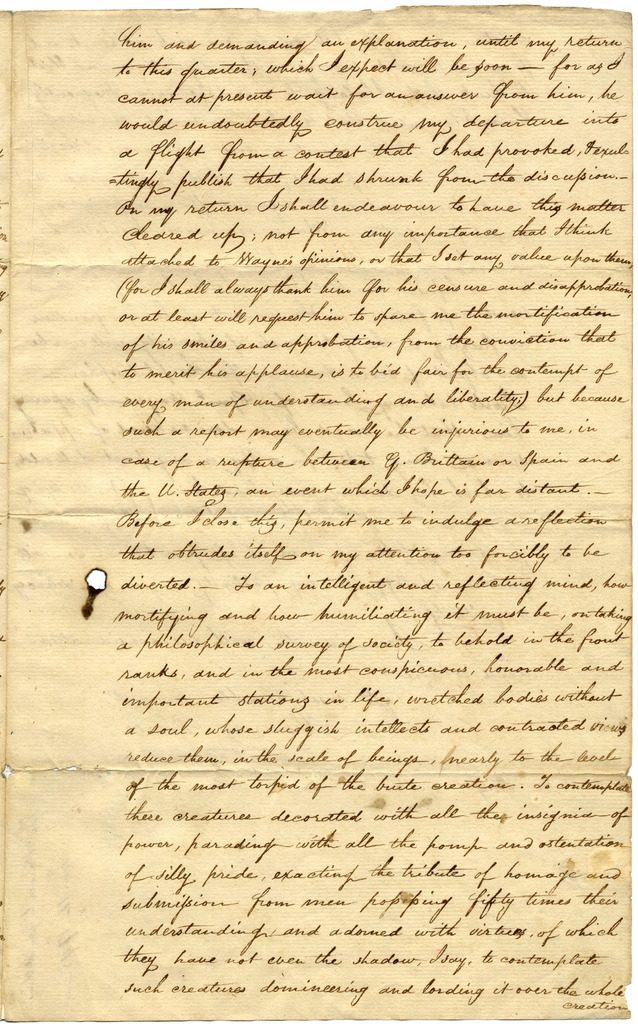 Letter from Thomas Power to James Wilkinson