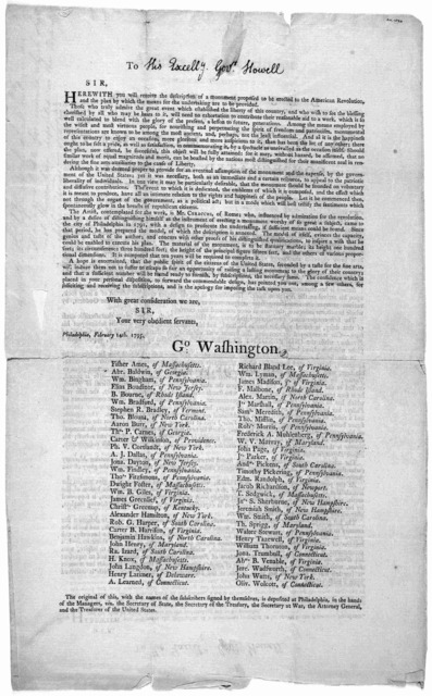 [Letter inviting recipients to subscribe to a fund to be used towards erecting a monument to the American revolution, dated at] Philadelphia, February 14th, 1795. [Signed by] George Washington [and 60 others].