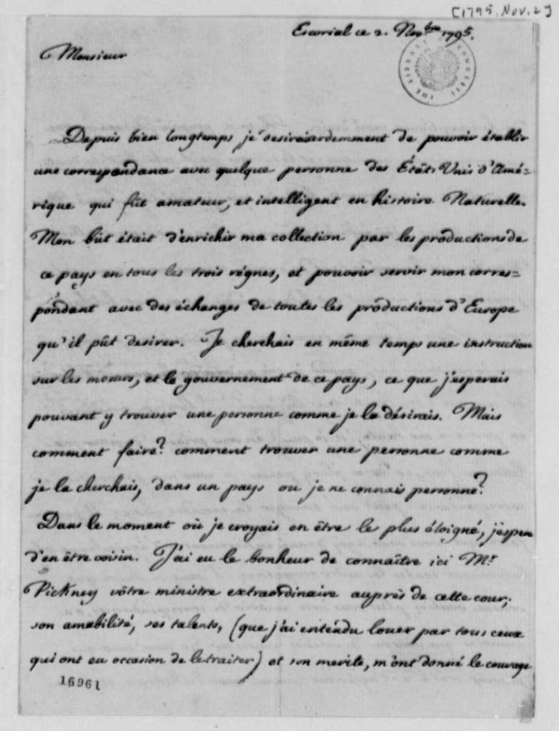 Louis de Parme to Thomas Jefferson, November 2, 1795, in French