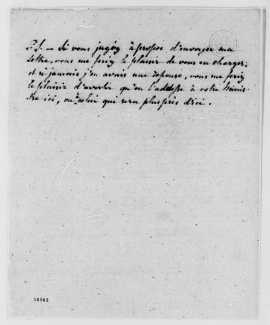 Louis De Parme to Thomas Pinckney, November 2, 1795, in French