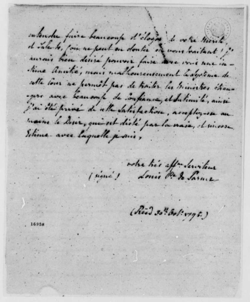 Louis de Parme to Thomas Pinckney, October 30, 1795, in French