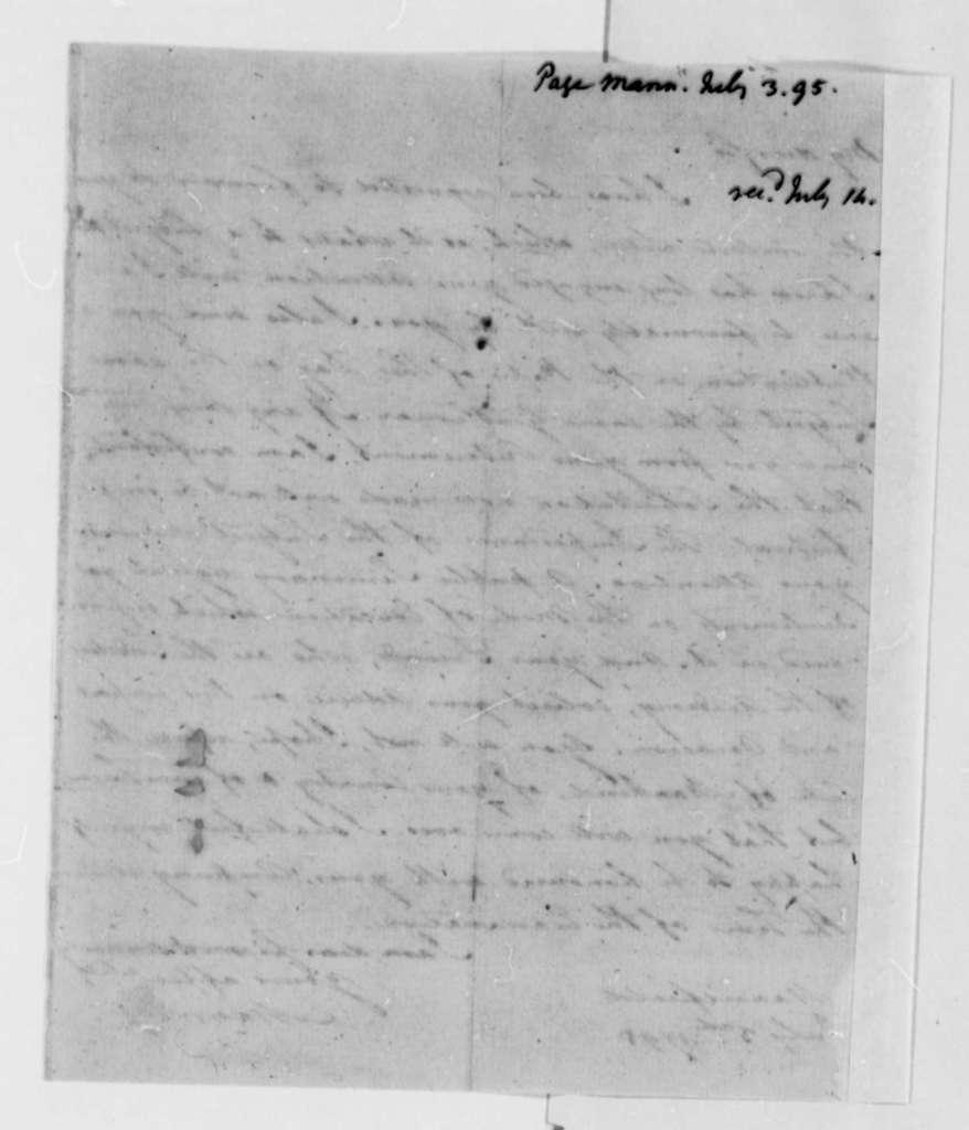 Mann Page to Thomas Jefferson, July 3, 1795
